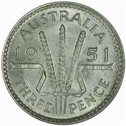 Australia 1951 Threepence - NGC MS65