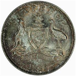 Australia 1926 Sixpence - NGC MS67