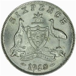 Australia 1928 Sixpence - NGC MS66