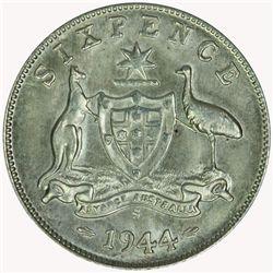Australia 1944 S Sixpence - NGC MS64