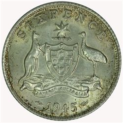 Australia 1945 Sixpence - NGC MS62