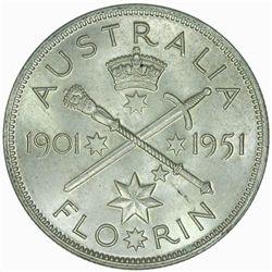 Australia 1951 Jubilee Florin - NGC MS63