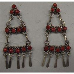 Zuni Sterling Coral Chandelier Earrings