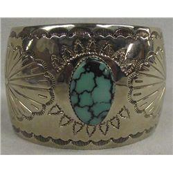 Navajo German Silver Turquoise Bracelet