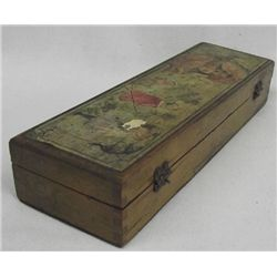 Victorian Pencil Box-Early Decoupage.