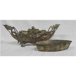 Ornate Brass Oblong Flower Arranger w/Liner
