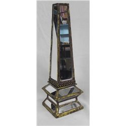 Decorative Mirrored Tower with Gold Leaf
