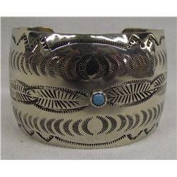Navajo Sterling Turquoise Stamped Bracelet