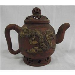 Vintage Oriental Terra Cotta Tea Pot-Marked