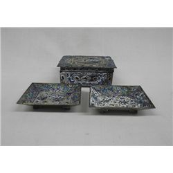 Chinese Cloisonne Jewelery Box & Ring Trays
