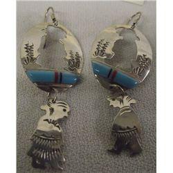 Navajo Sterling Turquoise Inlay Cutaway Earrings