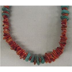 Navajo Sterling Turquoise & Coral Necklace