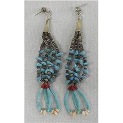 Navajo Sterling Turquoise Heishi Bead Earrings