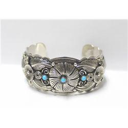 Navajo German Silver Turquoise Bracelet - R Skeets