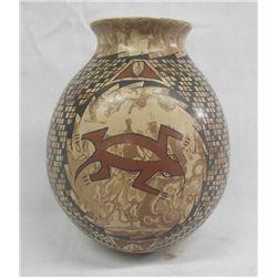 Mata Ortiz Polychrome Marbleized Clay Jar-L. Ortiz