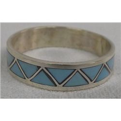 Zuni Turquoise Channel Inlay Wedding Band, Size 15