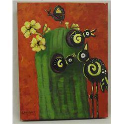 Original Acrylic ''Cactus Hotel'' by Judy Savarese