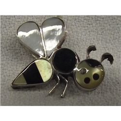 Zuni Stone to Stone Inlay Bee Pin Pendant