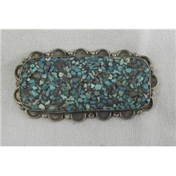 Vintage Navajo Sterling Turquoise Chip Inlay Pin