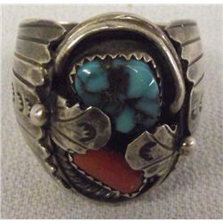 Old Pawn Navajo Sterling Turquoise Ring