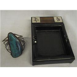 Vintage Navajo Sterling Turquoise Bracelet Plus
