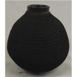 Mata Ortiz Black Textured Pottery Olla by A. Hedz