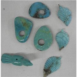 Eight Carved Turquoise Beads