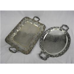 Two Handled Serving Trays, Grape Cluster Pattern