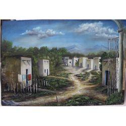 Original Mexican Village Oil by Jose' Curis