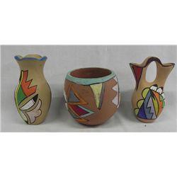 Three Jemez Painted Pottery Pieces