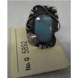 Turquoise and Sterling Silver Ring, Old Pawn Sz8.5