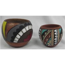 Two Jemez Polychrome Jars, One Signed
