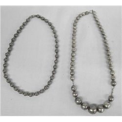 Two Older Silver Bead Chokers