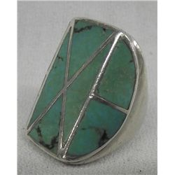 Turquoise & Sterling Silver Channel Set Inlay Ring
