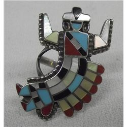 Zuni Inlay Gan Dancer Ring, Size 5
