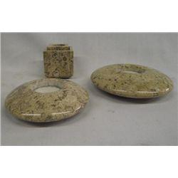 Fossiliferous Limestone Candleholders