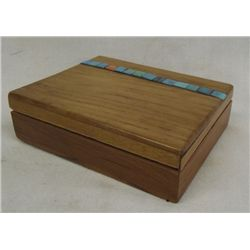 Wood Box with Turquoise Inlay