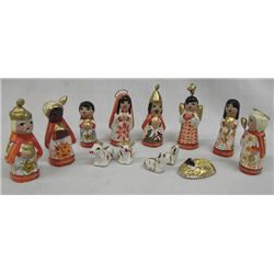 Vintage Hand Painted Mexican Nativity Set