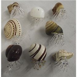 Natural Shell & Blown Glass Hermit Crabs