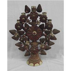 Vintage Tree of Life Oaxacan Pottery Candlelabra
