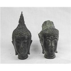 Two Bronze Hindu or Thai Heads