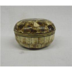 Round Bone Inlay Bowl Brass Lined