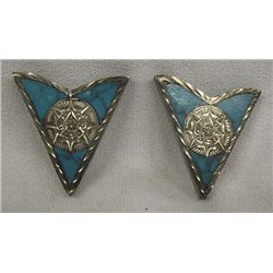 Mexican Sterling Silver Turquiose Collar Tips