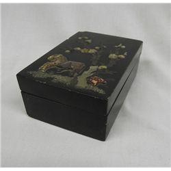 Black Lacquer Box with Jade Applique