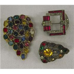 Art Deco DeRosa Clip & Rhinestone Pins