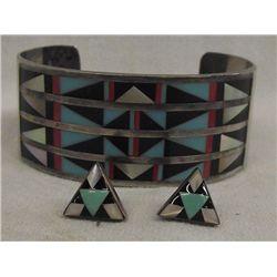 Zuni Sterling Inlay Bracelet & Earrings - Lasiloo