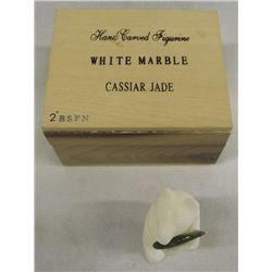 Hand Carved White Marble & Cassiar Jade Bear