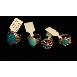 4 Navajo Rings,Silver and Turquoise,