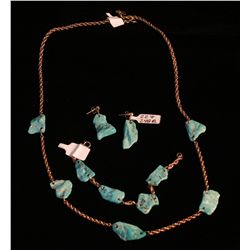 Turquoise and 14k 3pc. Jewelry Set