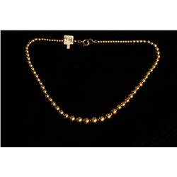 Graduated Gold Bead Necklace,